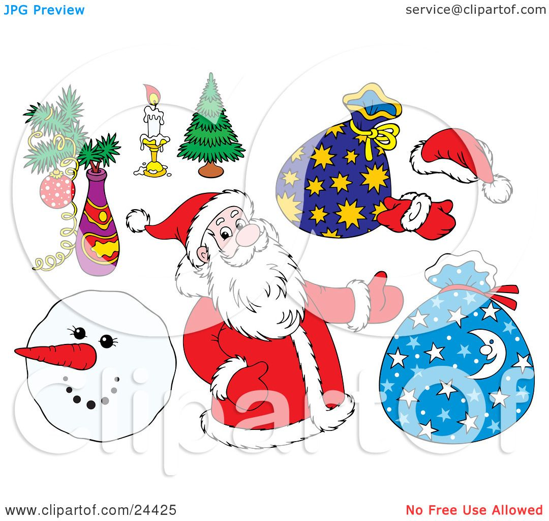03bbaefe80941 Clipart Illustration of a Christmas Collection Of Santa