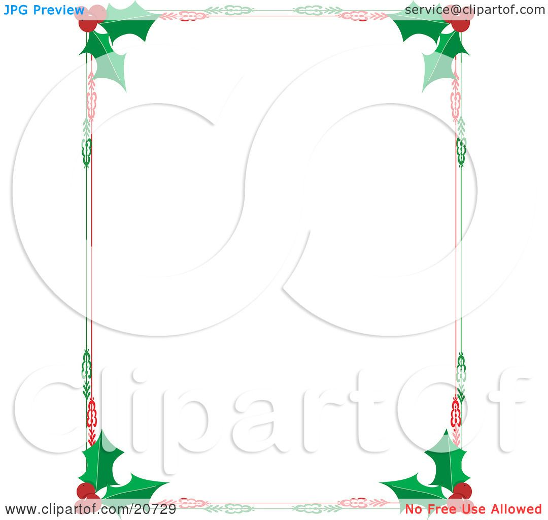 Clipart Illustration of a Christmas Stationery Border Of Red ...
