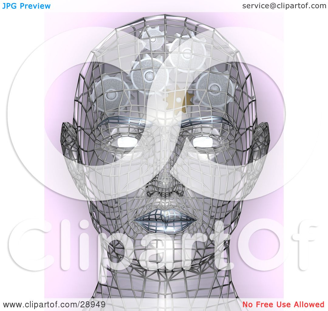 Clipart Illustration of a Chrome Wire Head With Glowing Eyes And ...