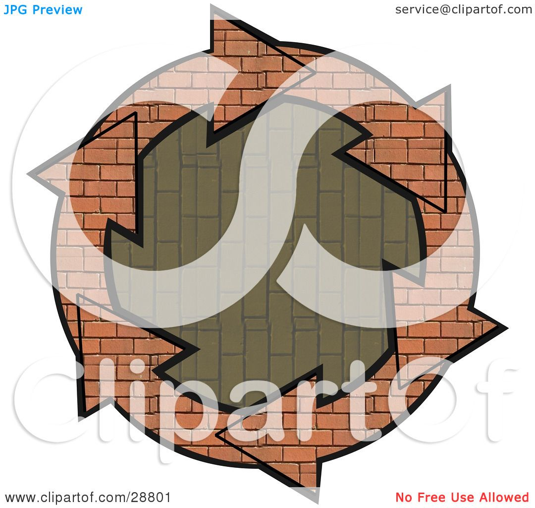 Clipart Illustration of a Circle Of Brick Arrows Around A ...