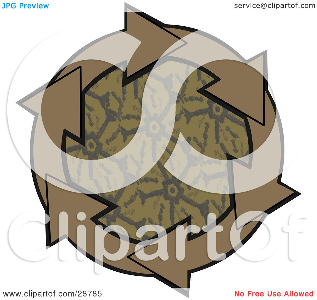 Clipart Illustration of a Circle Of Brown Arrows Around A ...
