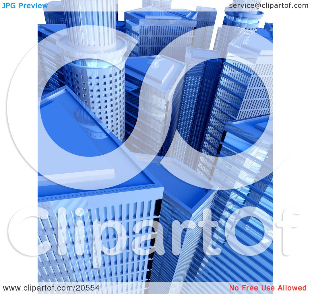 Clipart Illustration Of A Cityscape Of Blue Skyscrapers