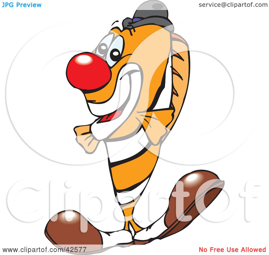 Clipart Illustration of a Clowny Clown Fish Wearing A Red Nose And ...