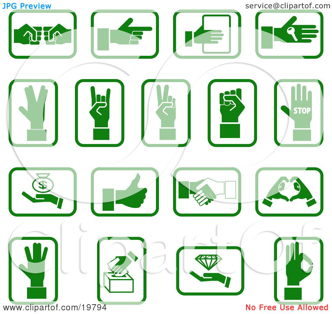 Clipart Illustration of a Collection Of Green Hand Icons With Sign ...