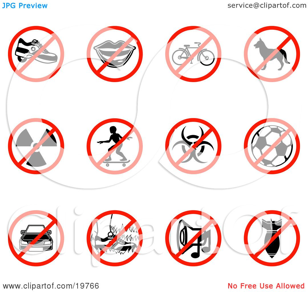 Clipart Illustration of a Collection Of Restriction Icons Showing ...