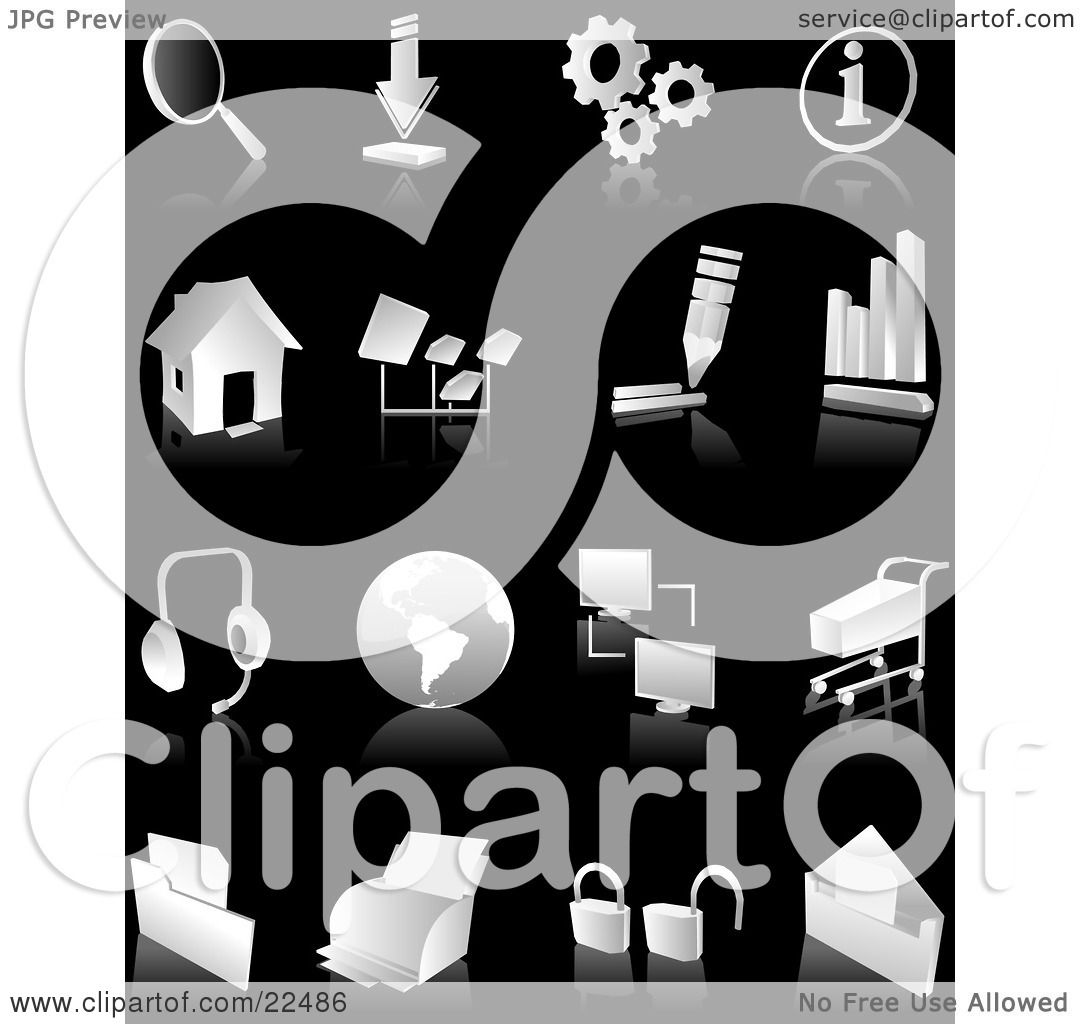Clipart Illustration of a Collection Of White And Gray Search ...