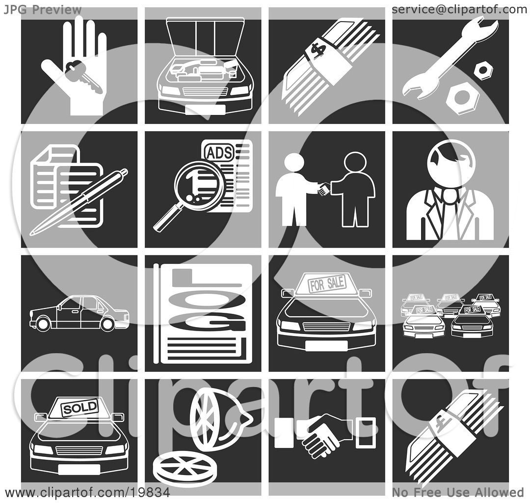 Clipart Illustration of a Collection Of White Automotive Icons ...