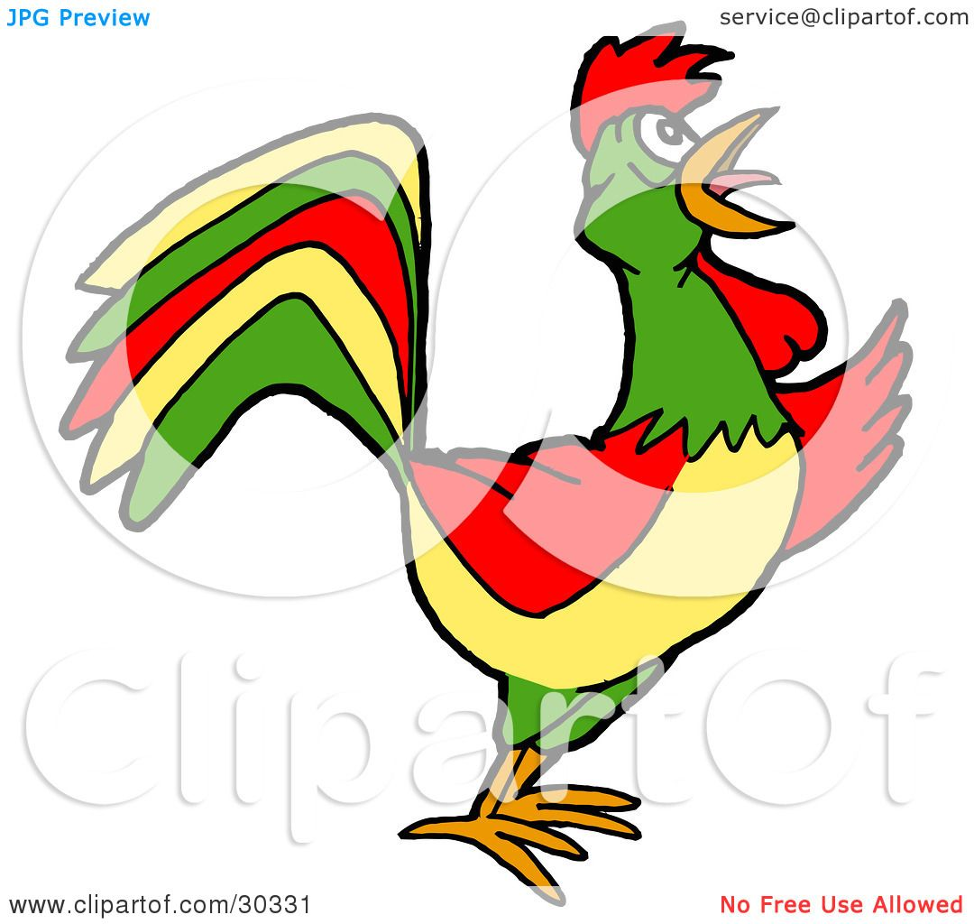 Clipart Illustration of a Colorful Farm Rooster Crowing At ...