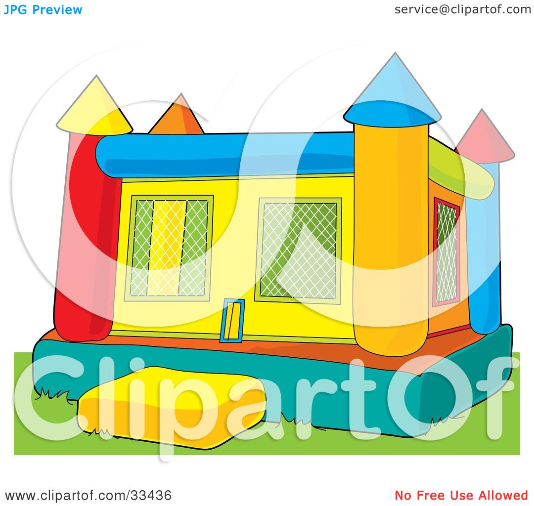 Clipart Illustration of a Colorful Inflatable Bouncy