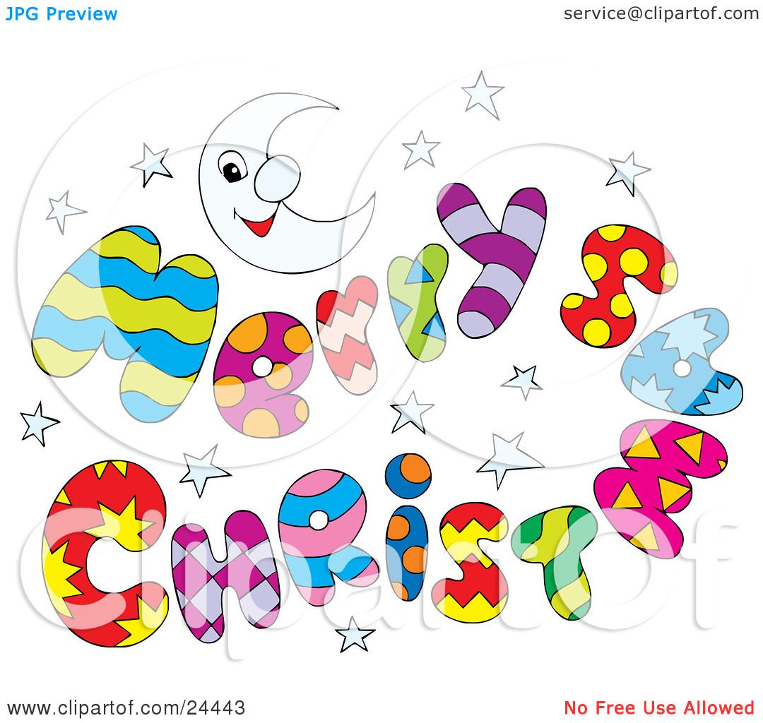 Clipart Illustration Of A Colorful Merry Christmas Greeting With