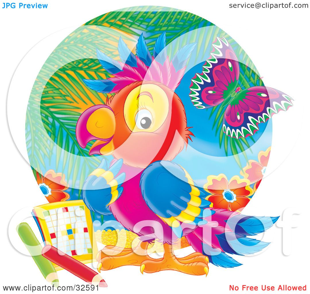 clipart illustration of a colorful parrot pondering a