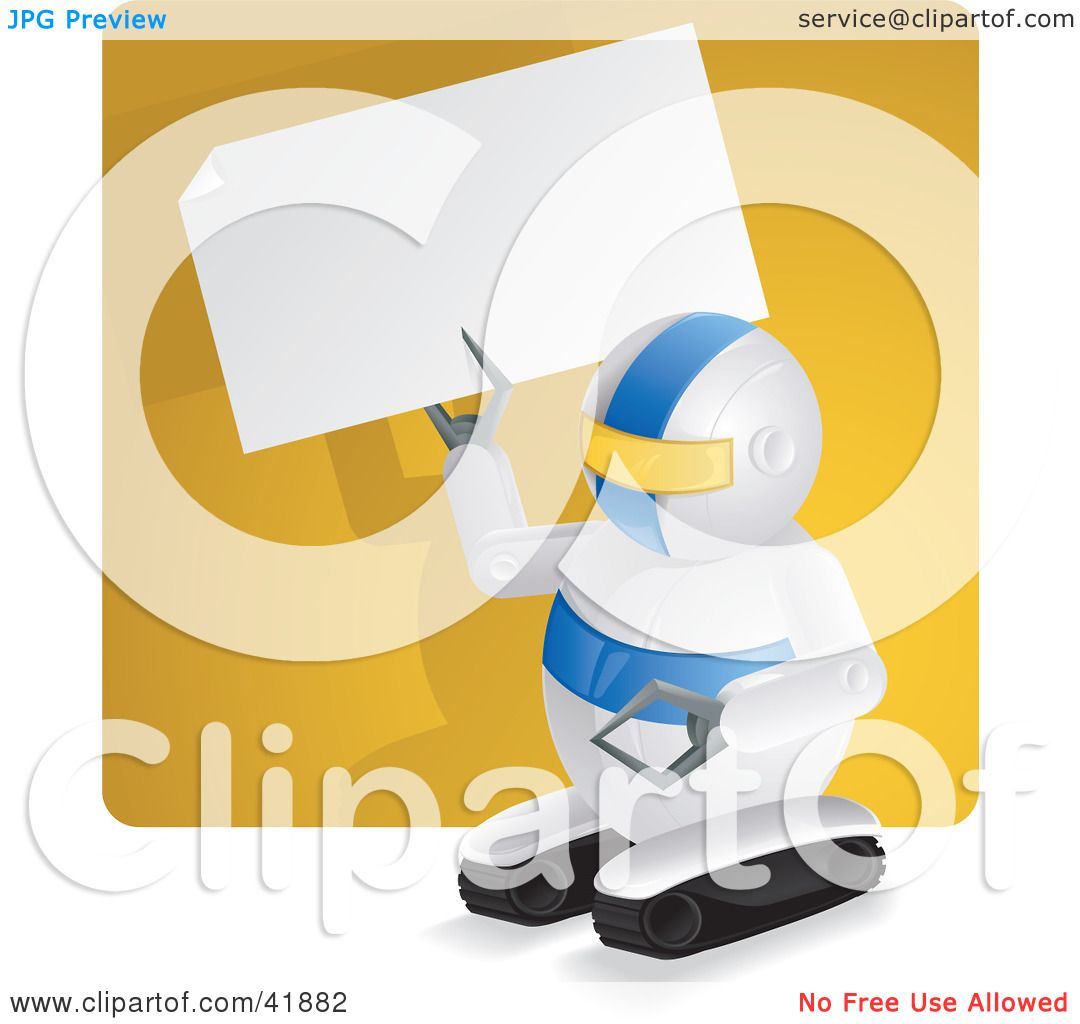 Clipart Illustration of a Compact Robot Holding Up A Blank Sign In ...