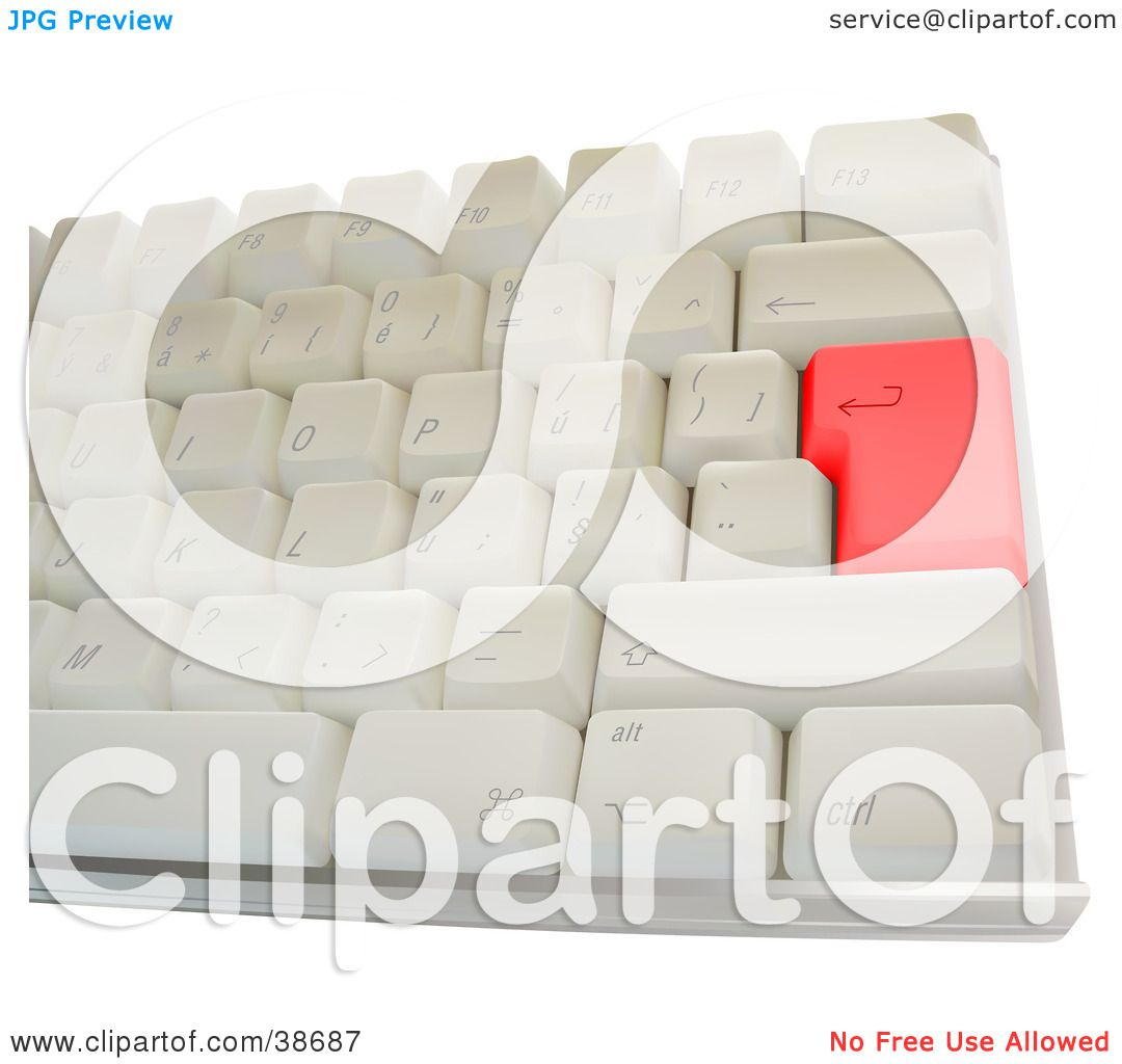 Clipart Illustration of a Computer Keyboard With A Red Enter Key by ...