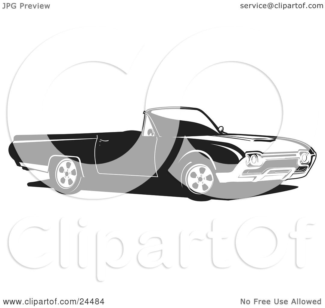Clipart Illustration of a Convertible Ford Thunderbird Car ... - photo#37
