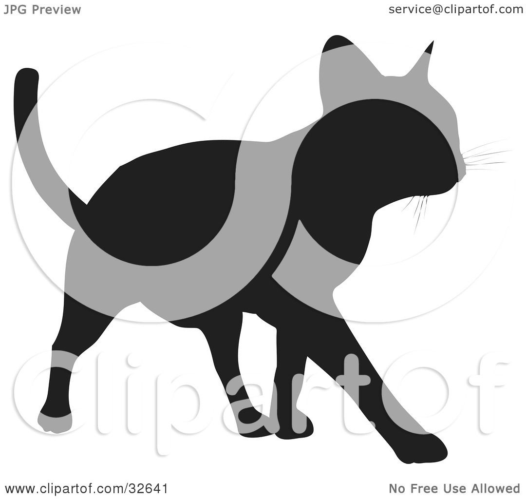 Clipart Illustration Of A Cool Cat Silhouetted In Black
