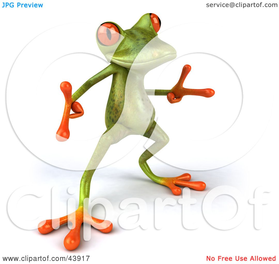 clipart illustration of a cool dancing 3d green tree frog