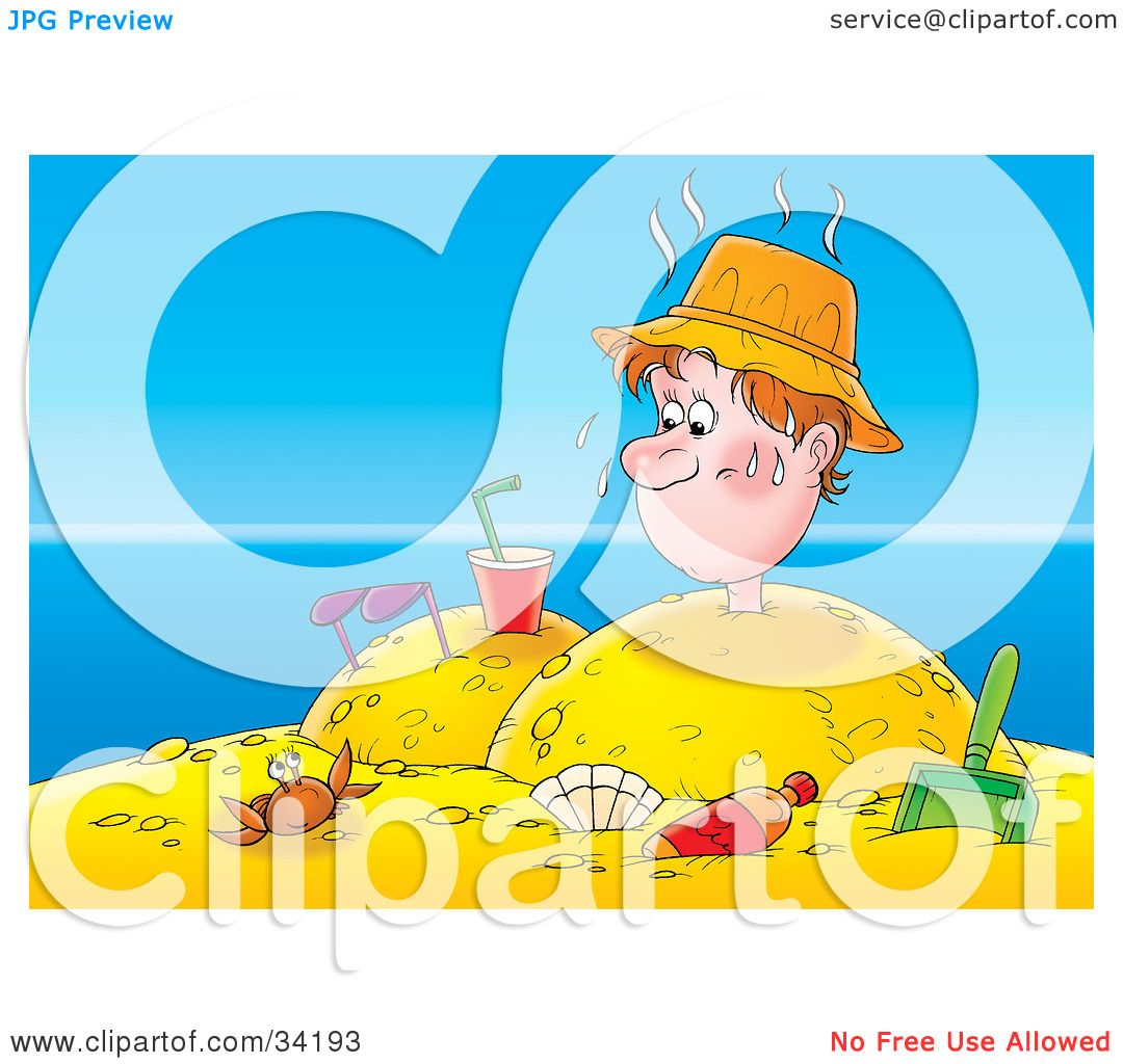 Clipart Illustration Of A Crab Looking Up At A Hot And