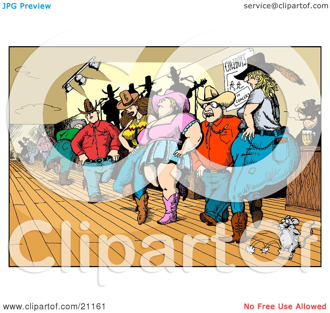 Clipart Illustration of a Crowd Of Country Folk, Men And Women ...