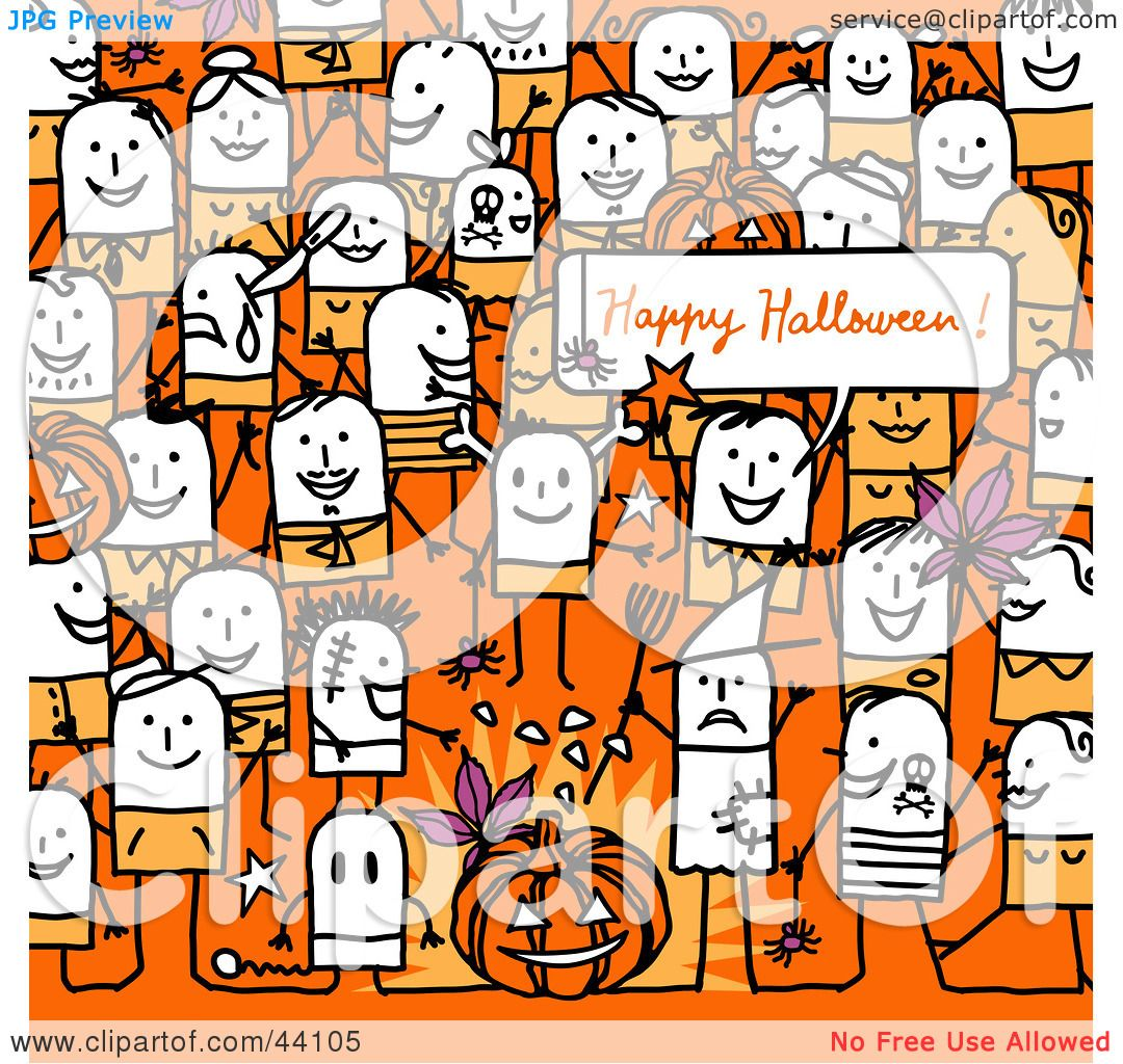 Clipart Illustration of a Crowd Of Stick People At A Halloween ...
