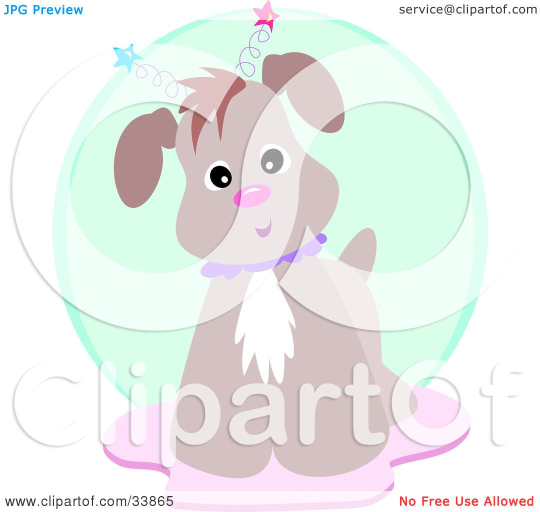 Clipart Illustration Of A Curious Brown Dog Wearing Star