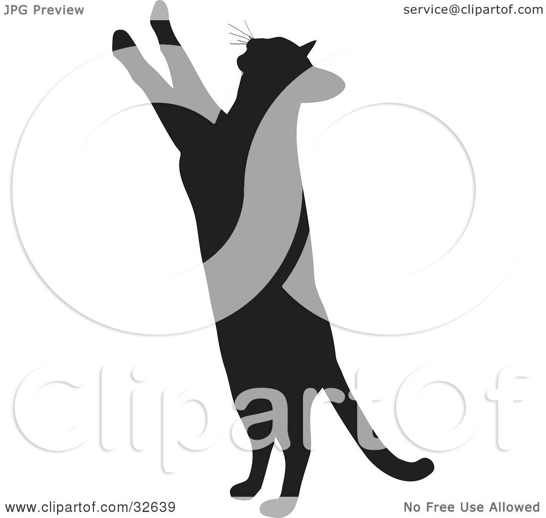 Clipart Illustration Of A Curious Cat Silhouetted In Black