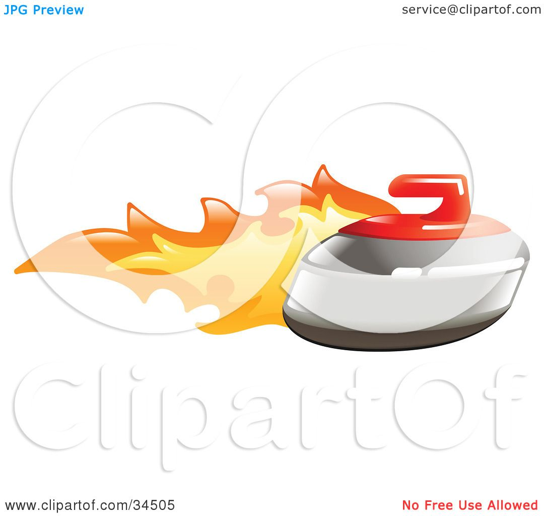 Clipart Illustration of a Curling Stone On Fire by ...