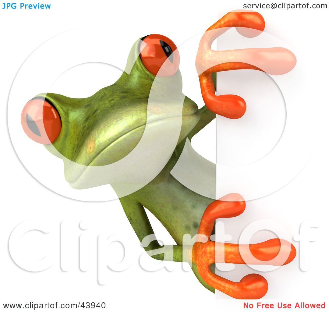 Clipart Illustration of a Cute 3d Green Tree Frog Looking Around A ...