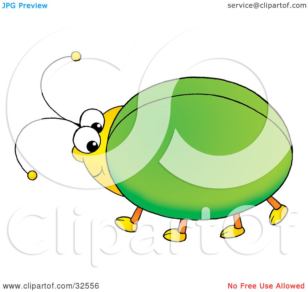 Clipart Illustration Of A Cute And Chubby Green Beetle With Yellow