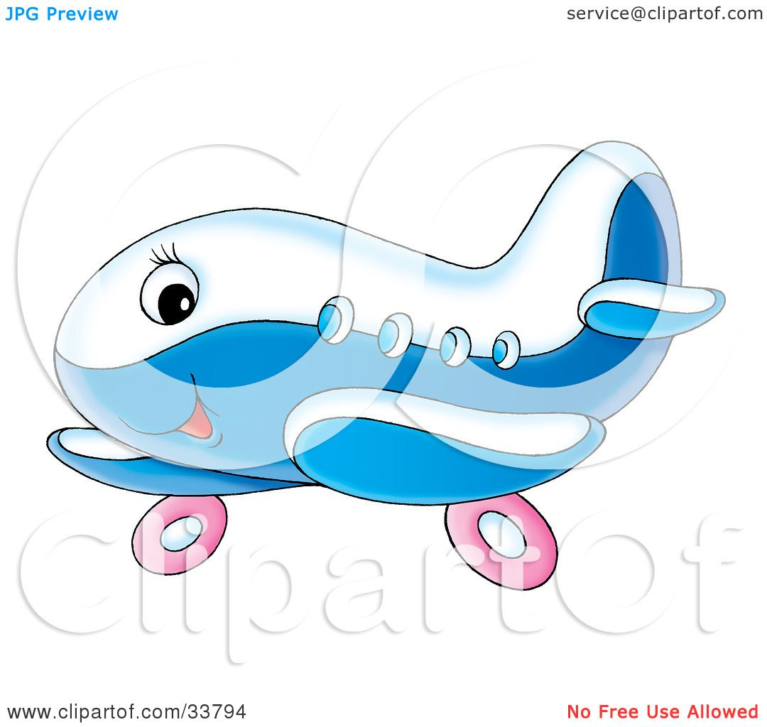 Airplane Wheel Clip Art : Clipart illustration of a cute blue and white airplane