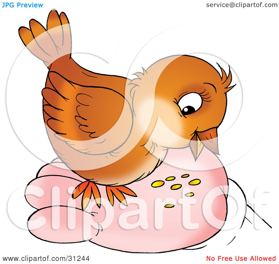 Clipart Illustration Of A Cute Brown Bird Eating Seed From
