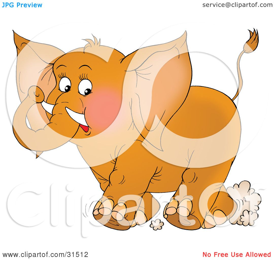 Clipart Illustration of a Cute Brown Elephant With Tusks ...