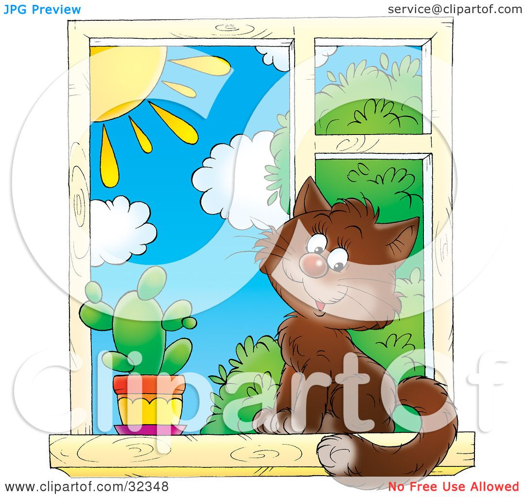 Clipart Illustration of a Cute Brown House Cat Sitting By A Cactus ... for Outside Window Clipart  45hul