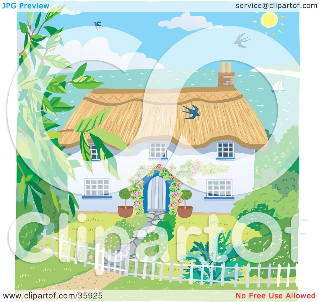 Clipart Illustration Of A Cute Cottage With Landscaped Yard Overlooking The Coast On Sunny Day By Lisa Arts