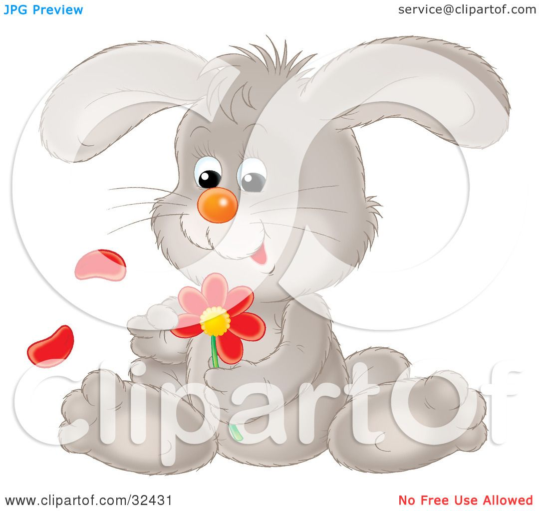 Clipart Illustration Of A Cute Gray Bunny Rabbit Sitting