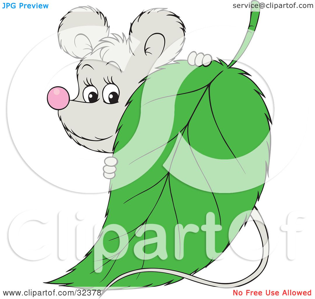 Clipart Illustration of a Cute Gray Mouse Peeking Around A ...