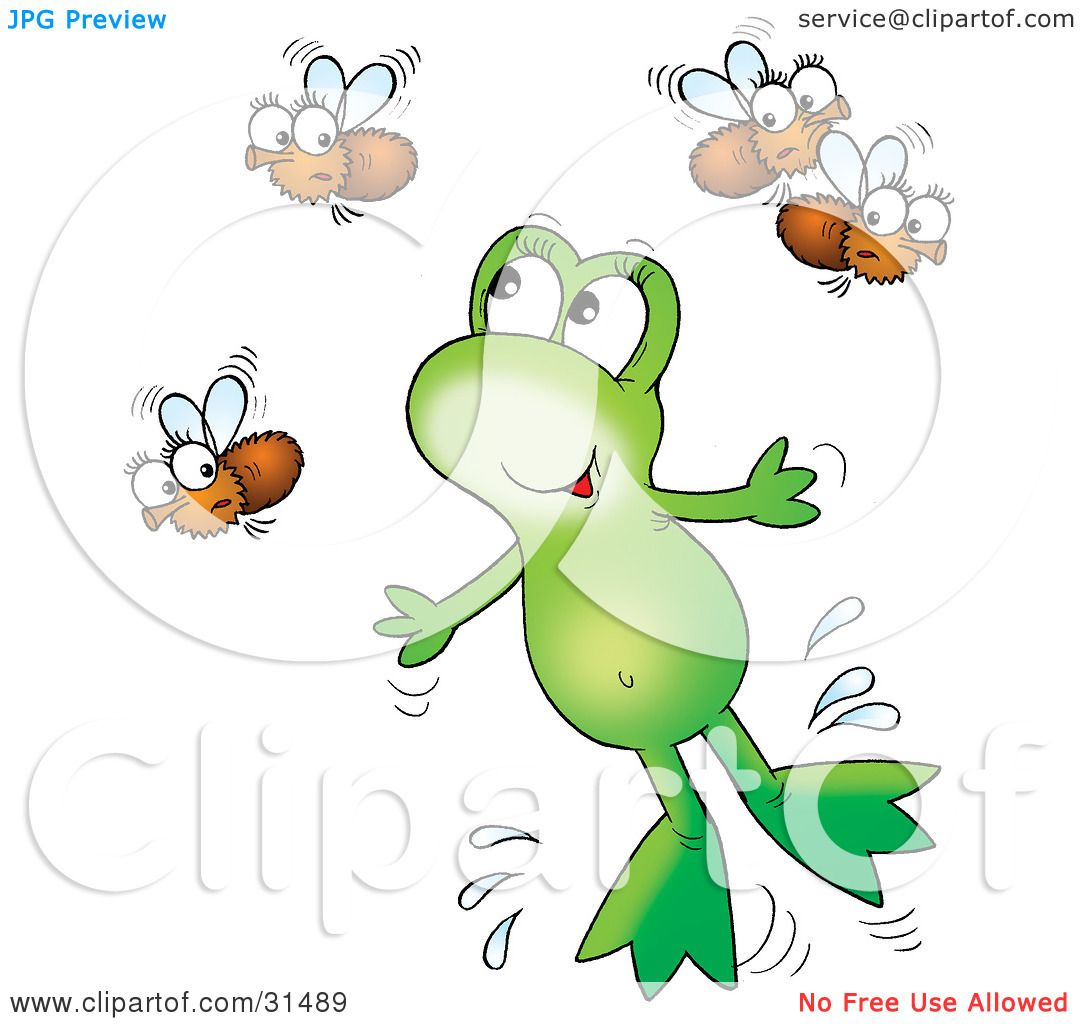 Clipart Illustration of a Cute Green Frog Leaping Through The Air To ...