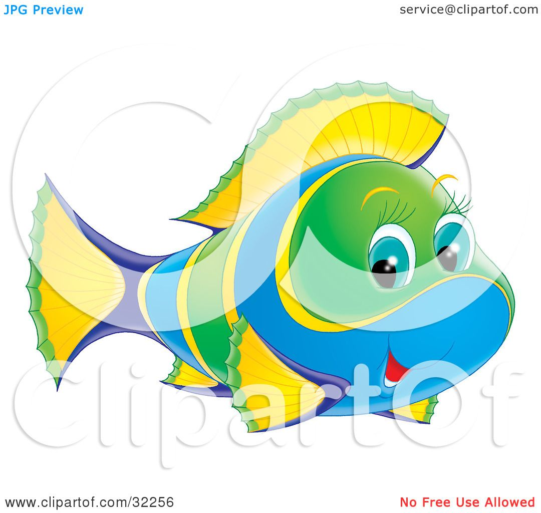 Clipart Illustration of a Cute Green, Yellow And Blue Fish With Blue ...