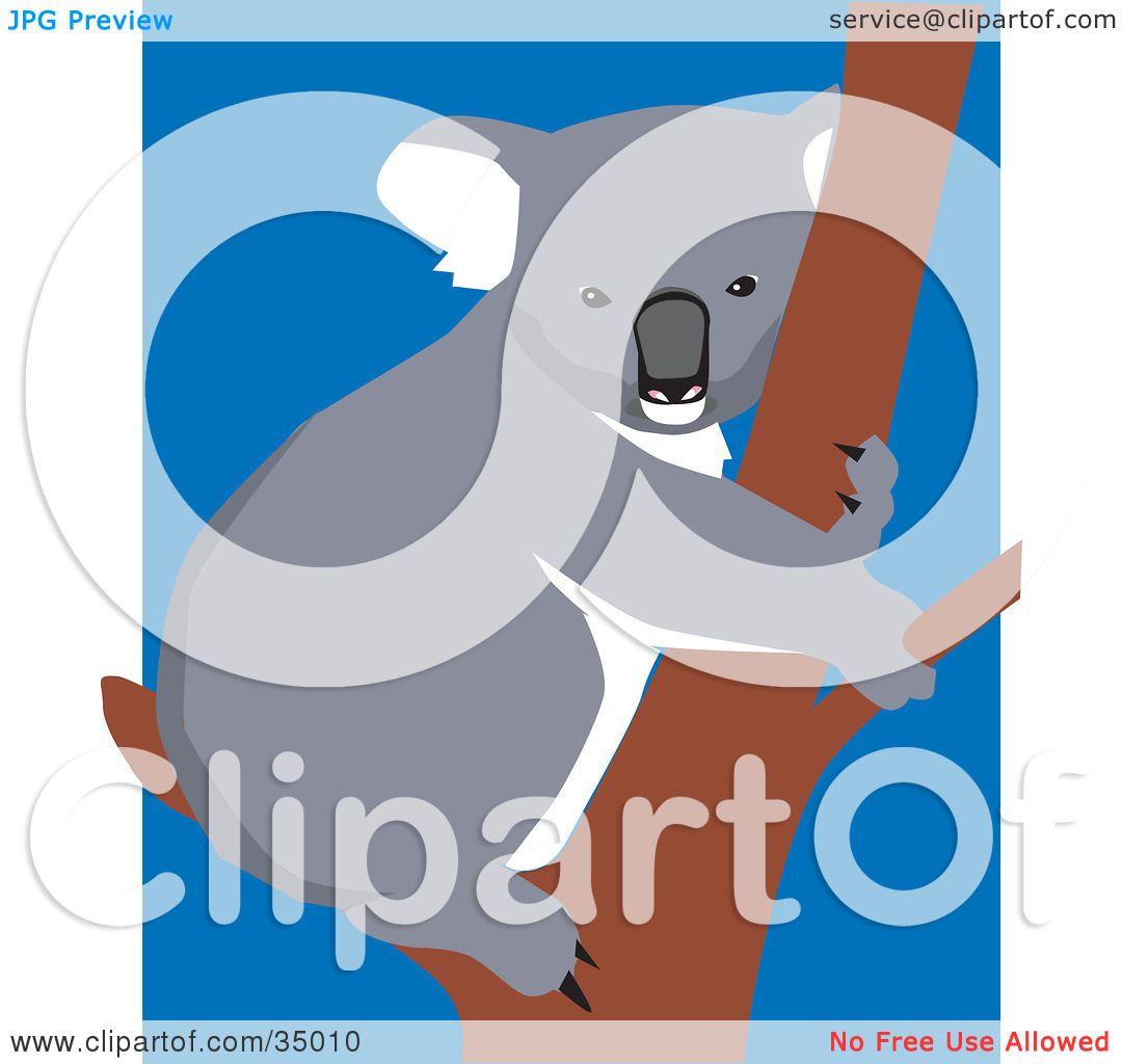 Koala Art And Design : Clipart illustration of a cute koala hugging tree over