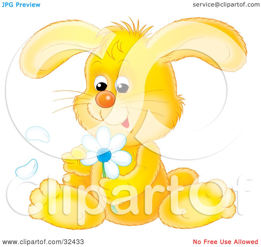 Clipart Illustration Of A Cute Yellow Bunny Rabbit Sitting