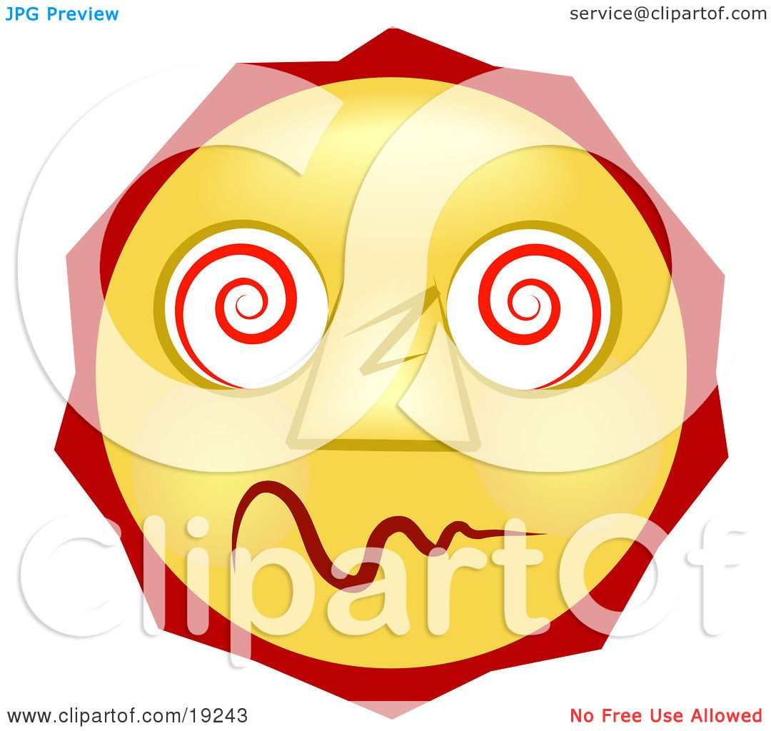 Illustration of a Dazed And Confused Yellow Smiley Face High On DrugsDazed And Confused Smiley Face