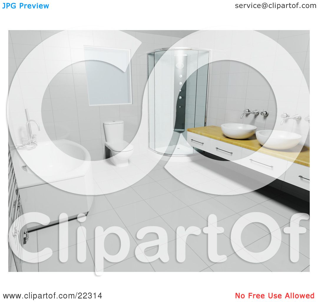 Bathroom Floor Clipart : Clipart illustration of a deep bath tub white toilet