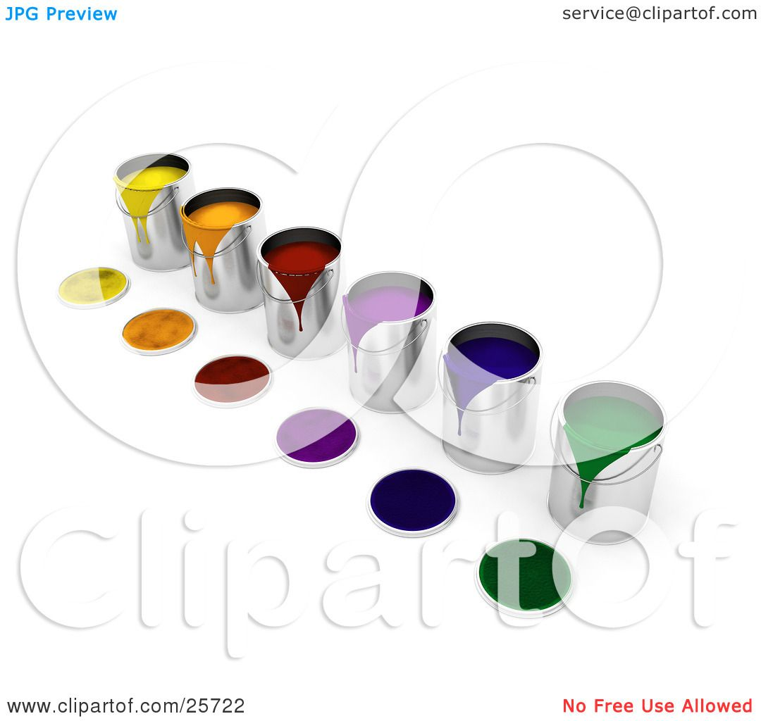 Clipart Illustration of a Diagonal Row Of Colorful Cans Of Paint ...