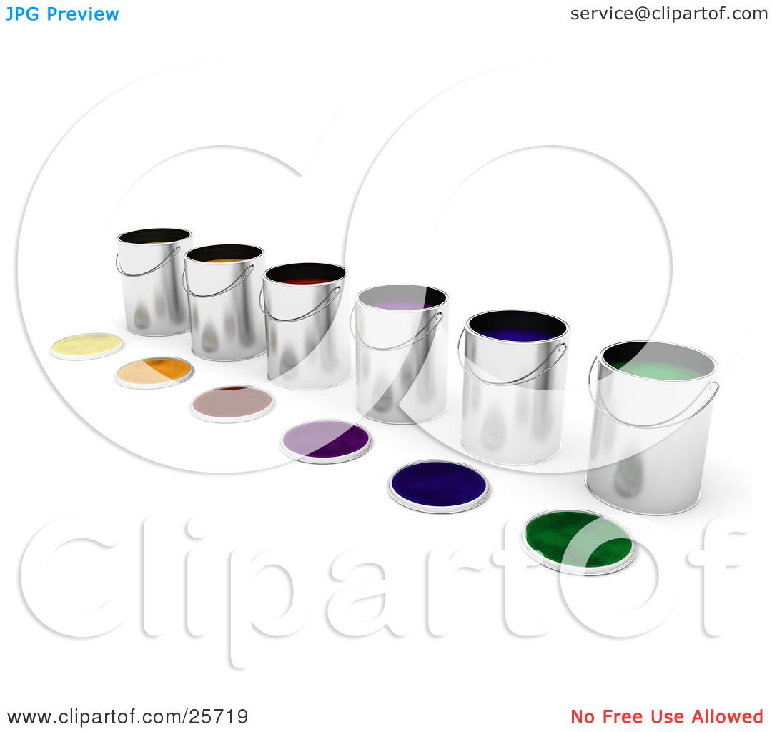 Clipart Illustration of a Diagonal Row Of Paint Cans Full Of ...