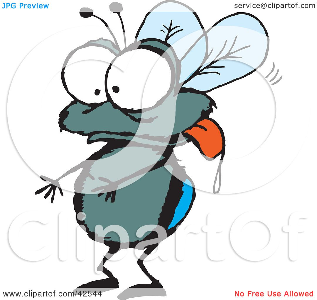 Clipart Illustration of a Drooling House Fly Hanging Its Tongue Out ...