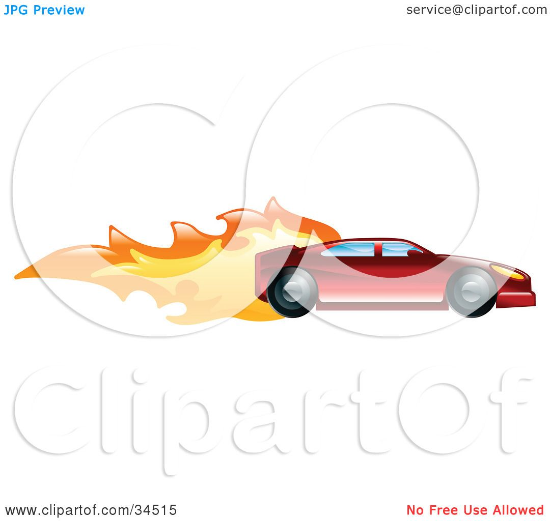 Clipart Illustration of a Fast Red Sports Car Speeding With Flames ...