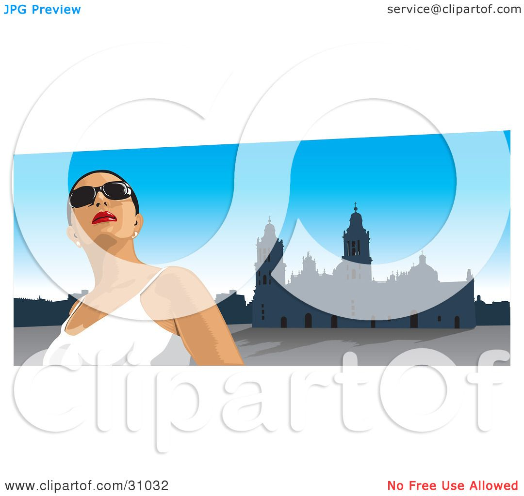 clipart illustration of a female tourist wearing shades looking up rh clipartof com Star of David Clip Art Star of David Clip Art