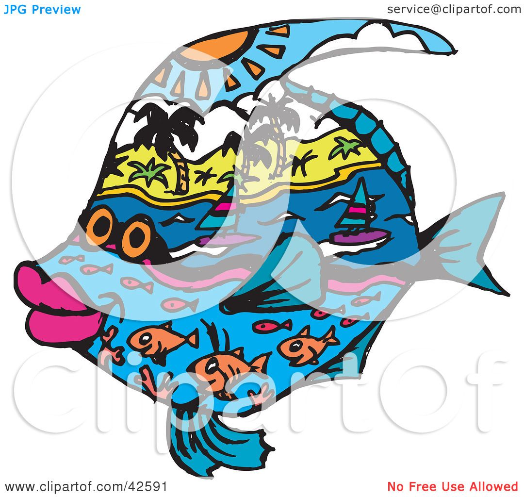 Clipart Illustration of a Fish With Land And Sea Designs by Dennis Holmes Designs #42591