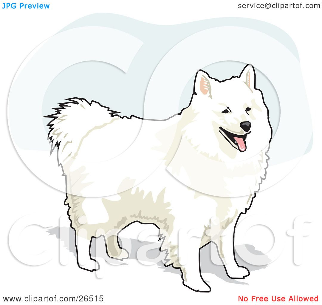 Clipart illustration of a fluffy and friendly white - Clipart illustration ...