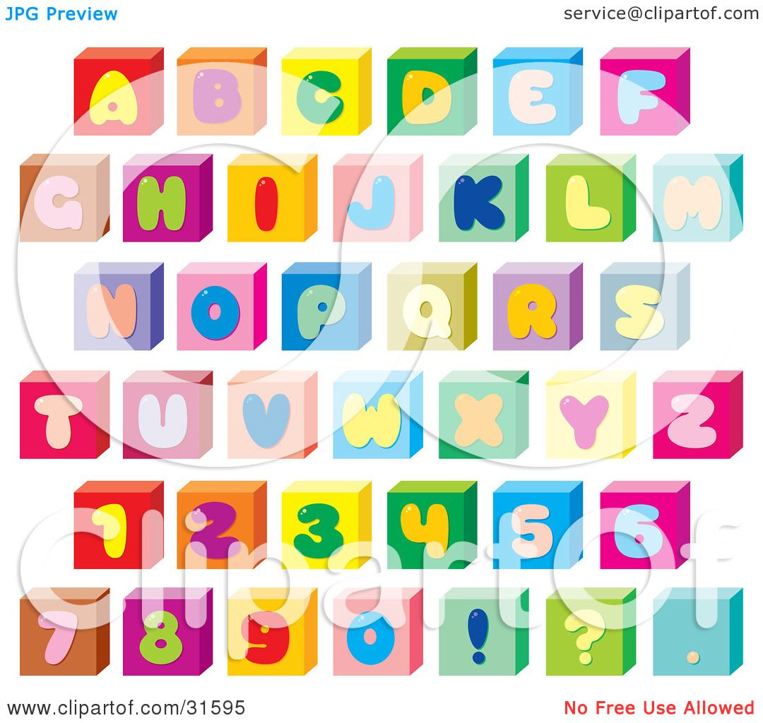 Clipart Illustration of a Font Set Of Colorful Letters, Numbers ...