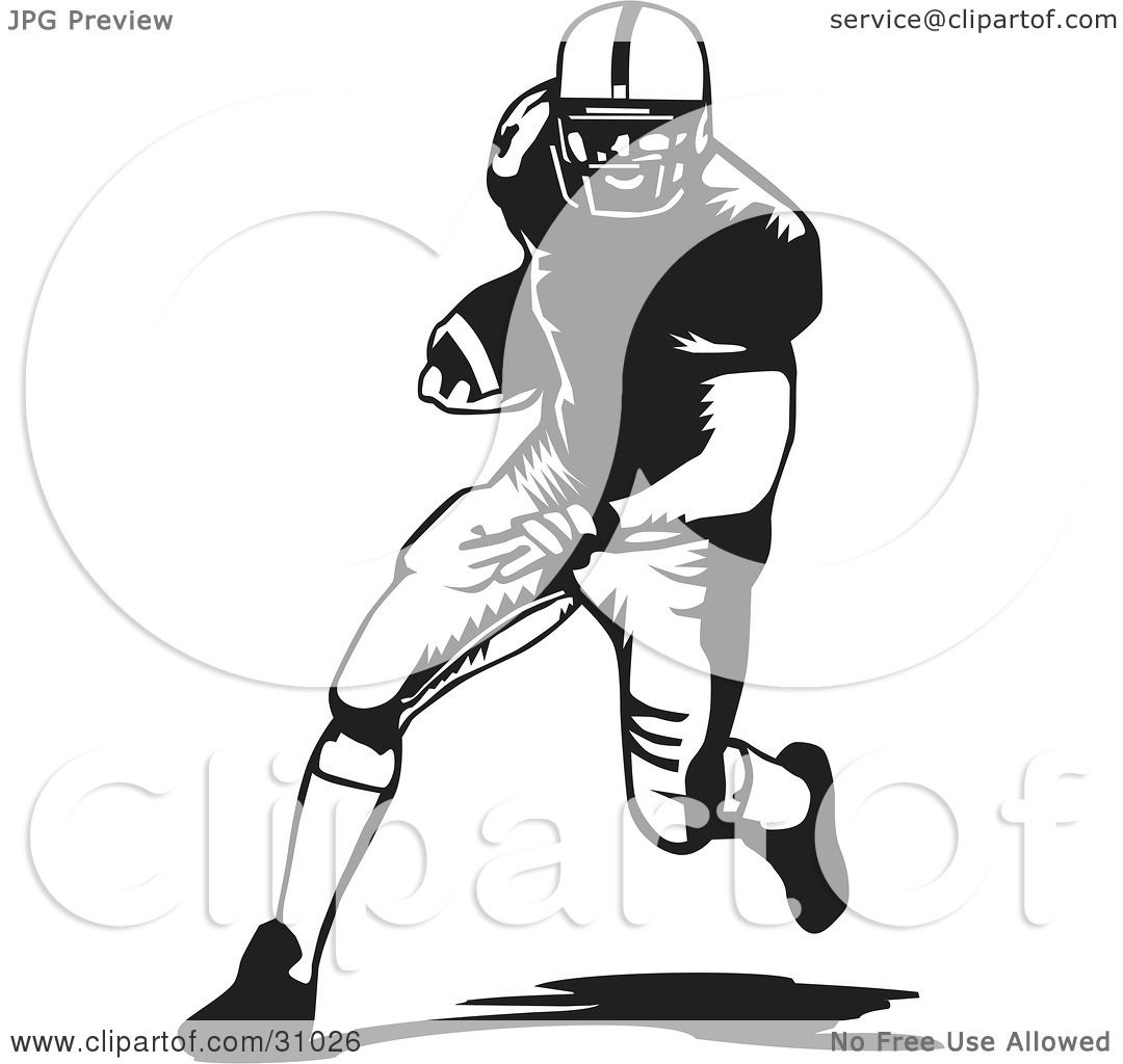 Clipart Illustration of a Football Player Running With The ...